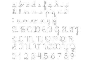Exemplo de letra cursiva facilitada. Imagem: blog Educar para a Vida