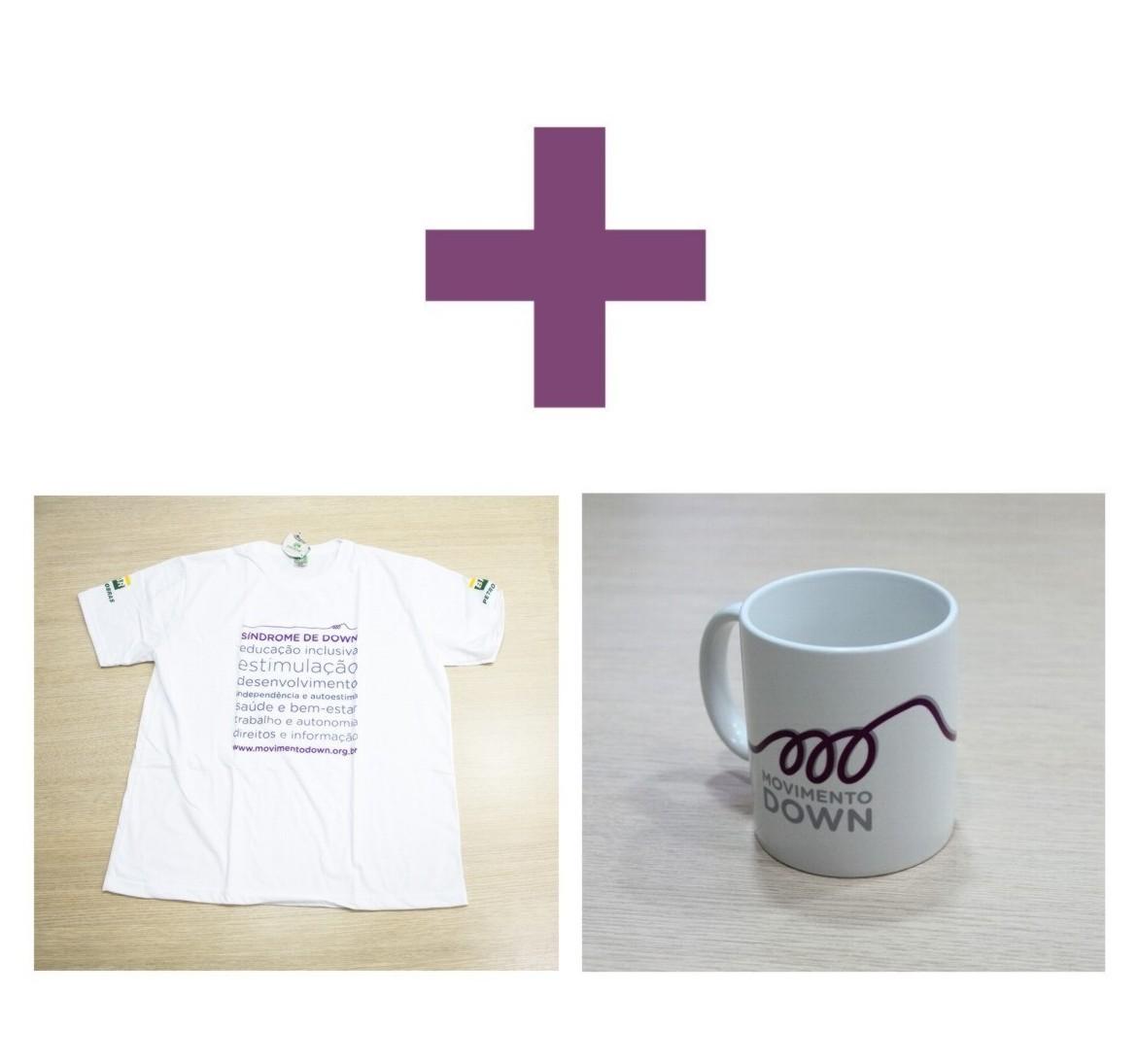 Caixa contendo: Caneca branca de porcelana com a marca do Movimento Down e Camisa Ecológica branca com termos relacionados à inclusão e ao apoio ao desenvolvimento.