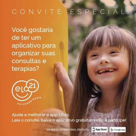 convite para baizar o aplicativo. fundo laranja, menina com sindrome de down sorridente. elo21 universo down.