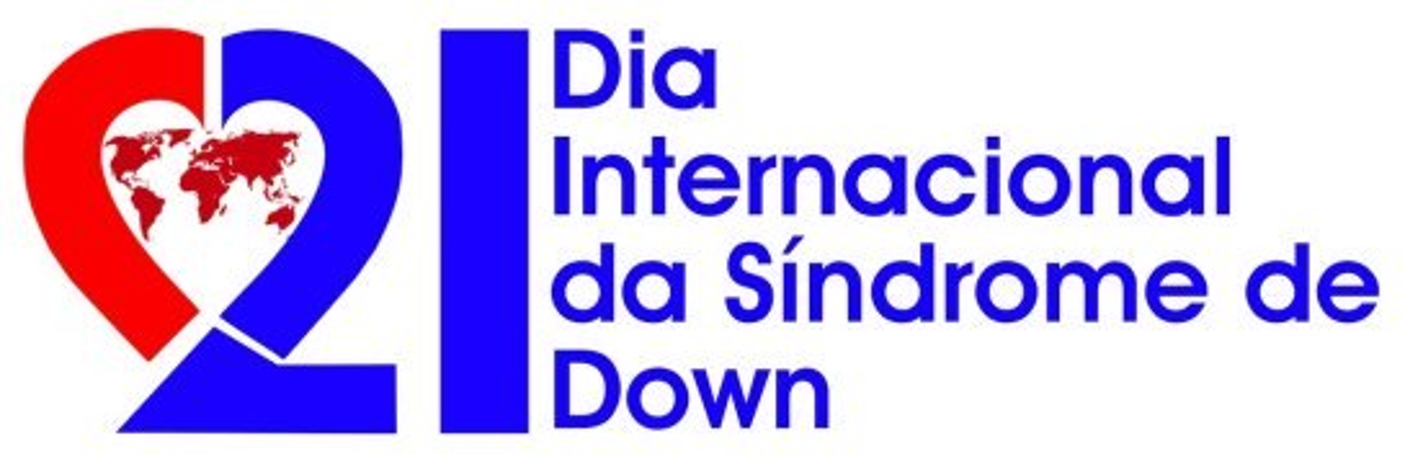 lofo do dia internacional da sindrome de down em vermelho e azul, com o numero 21 fazendo um coracao e um planisferio dentro .