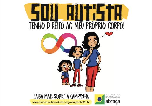 ilustracao de menina pequena, jovem e mulher, sou autista - tenho direito ao meu proprio corpo.
