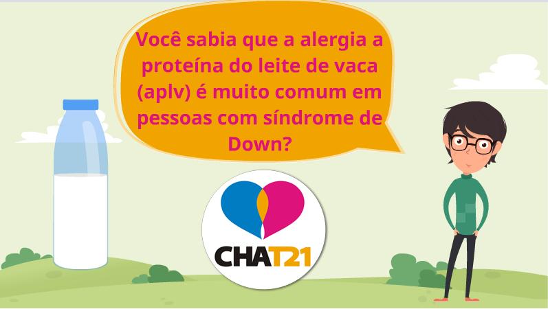 ilustracao de homem e garrafa de leite - balao de dialogo - texto - você sabia que a alergia a proteina do leite de vaca é muito comum em pessoas com sindrome de down?
