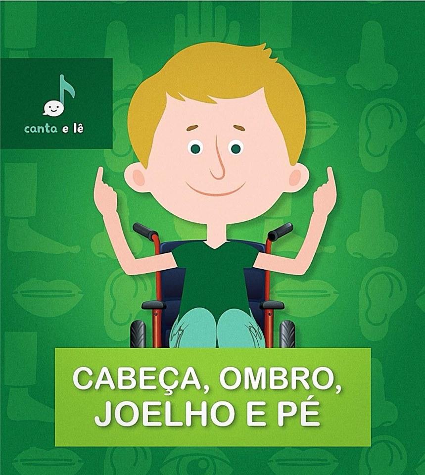 ilustracao de menino em cadeira de todas - texto - cabeça, ombro, joelho e pé.