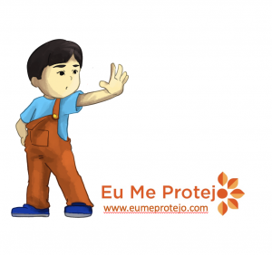ilustração de menino com a mão estendida para frente em sinal de pare. texto: educação para a prevenção contra o abuso sexual infantil