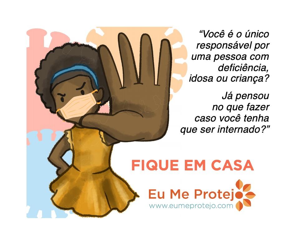 ilustração menina com mao espalmada a frente em sinal de pare e mascara. fique em casa. eumeprotejo.com